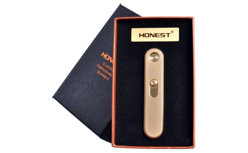 """USB зажигалка в подарочной упаковке """"Honest"""" (спираль накаливания) №4825 Gold"""