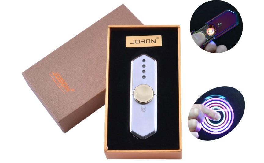 USB зажигалка-спиннер в подарочной упаковке Jobon (Спираль накаливания) №HL-10 Silver