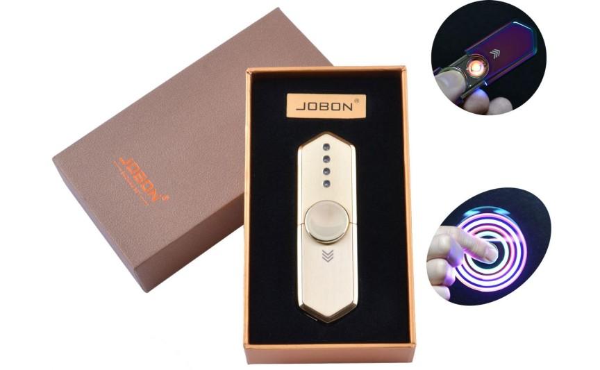 USB зажигалка-спиннер в подарочной упаковке Jobon (Спираль накаливания) №HL-10 Gold