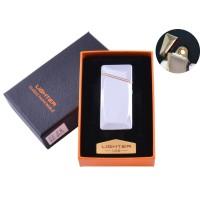 USB  зажигалка в подарочной упаковке (Спираль накаливания) №HL-25 Silver