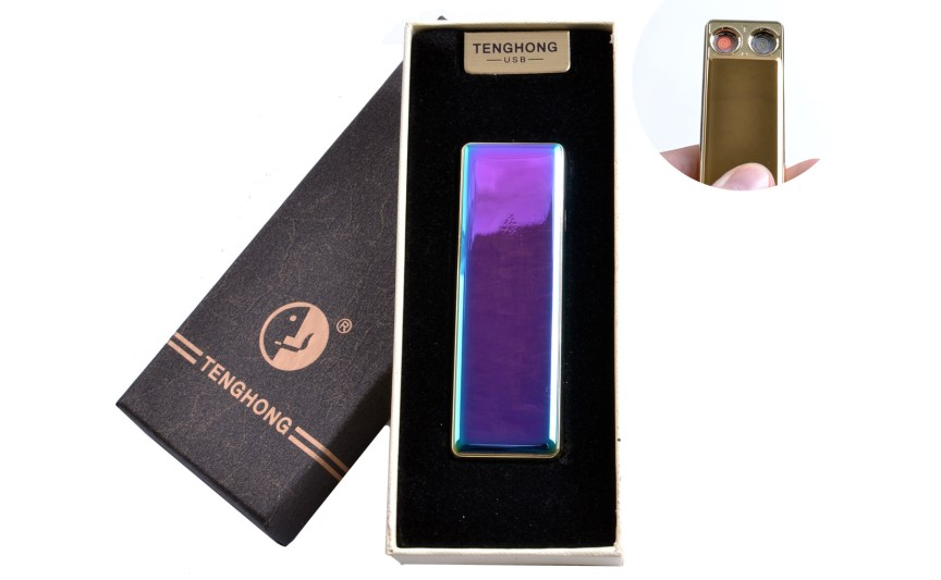USB зажигалка в подарочной упаковке (Две спирали накаливания) №4863 Хамелеон