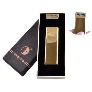 USB зажигалка в подарочной упаковке (Две спирали накаливания) №4863 Золото