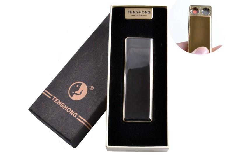 USB зажигалка в подарочной упаковке (Две спирали накаливания) №4863 Черный