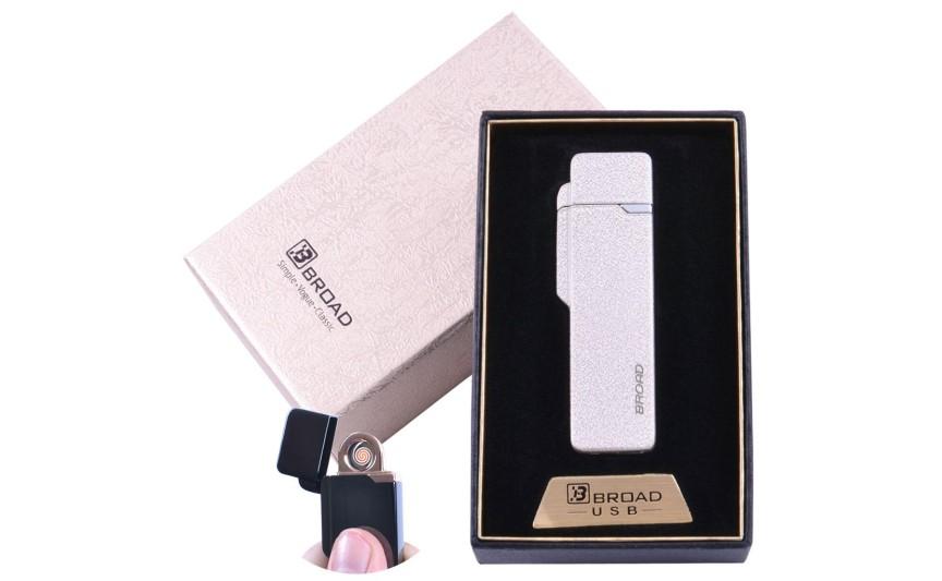"""USB  зажигалка в подарочной упаковке """"Broad"""" (Двухсторонняя спираль накаливания) №XT-4877 Белый матовый"""