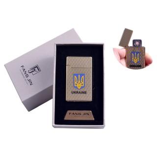"""USB зажигалка в подарочной упаковке """"Герб Украины"""" (Двухсторонняя спираль накаливания) №4799"""
