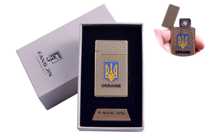 """USB запальничка в подарунковій упаковці """"Герб України"""" (Двостороння спіраль розжарювання) №4799"""