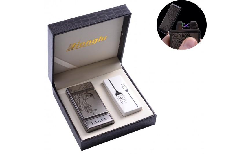 """USB зажигалка в подарочной кожаной коробке """"EAGLE"""" (Электроимпульсная - две перекрещенные молнии) №4842-2"""