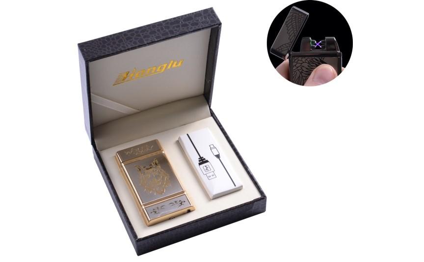 """USB запальничка в подарунковій шкіряній коробці """"Wolf"""" (Електроімпульсна - дві перехрещені блискавки) №4842-3"""