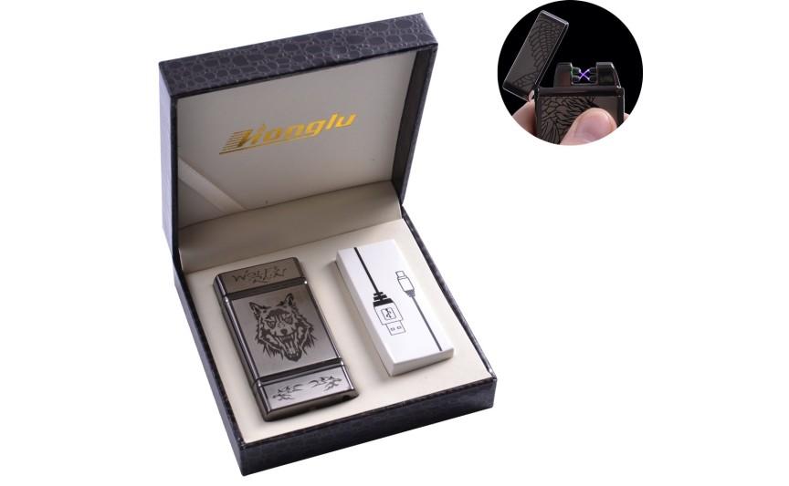 """USB запальничка в подарунковій шкіряній коробці """"Wolf"""" (Електроімпульсна - дві перехрещені блискавки) №4842-4"""
