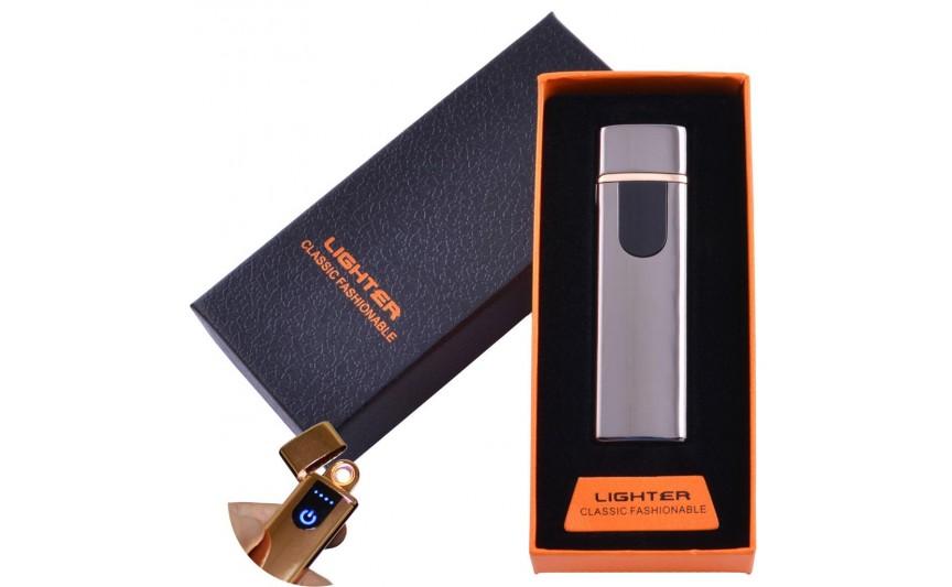 USB зажигалка в подарочной упаковке Lighter (Спираль накаливания) №HL-48 Black