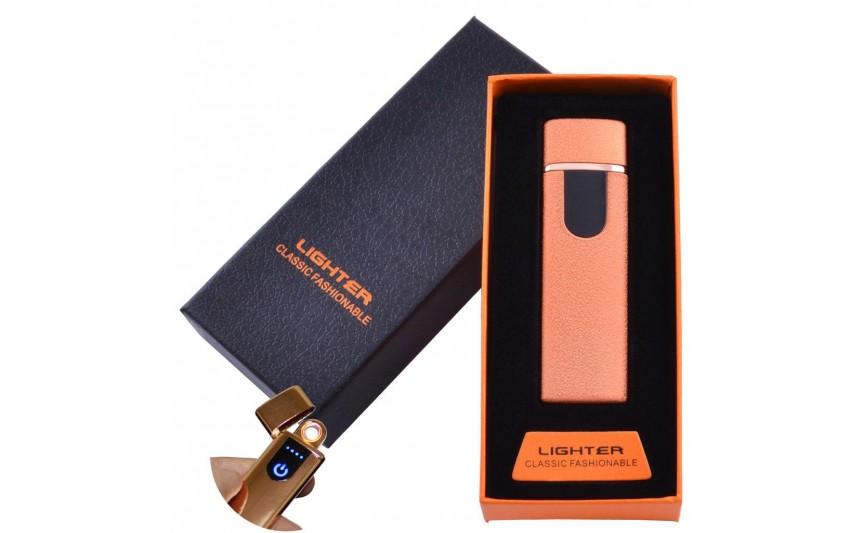 USB зажигалка в подарочной упаковке Lighter (Спираль накаливания) №HL-49 Orange