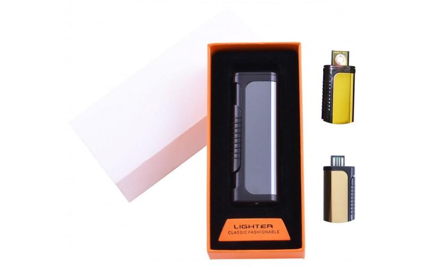 USB  зажигалка в подарочной упаковке Lighter (Спираль накаливания) №HL-35 Black