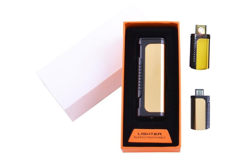 USB  зажигалка в подарочной упаковке Lighter (Спираль накаливания) №HL-35 Gold