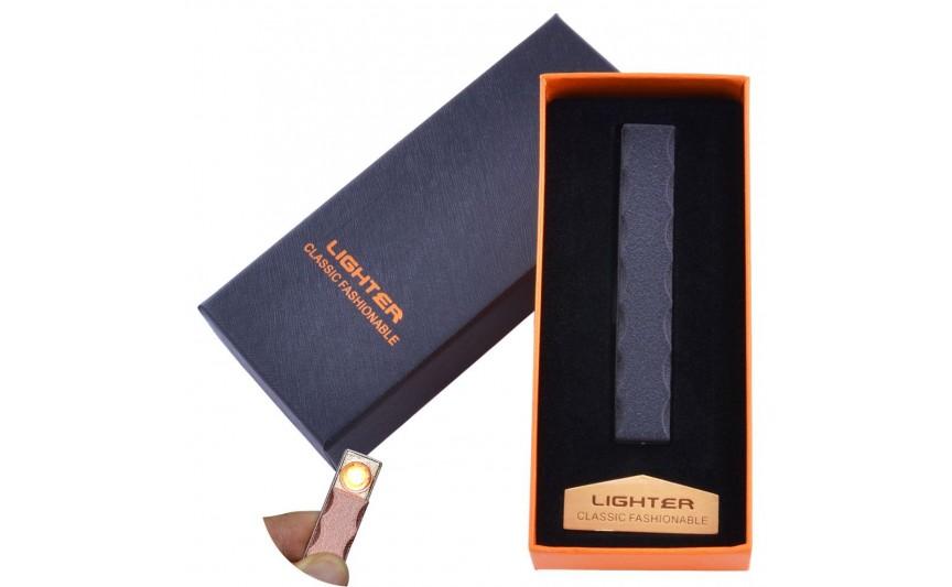 USB  зажигалка в подарочной упаковке Lighter (Спираль накаливания) №HL-47 Black
