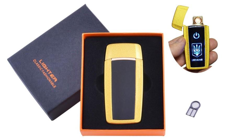 USB  зажигалка в подарочной упаковке Украина (Спираль накаливания) №HL-56 Gold