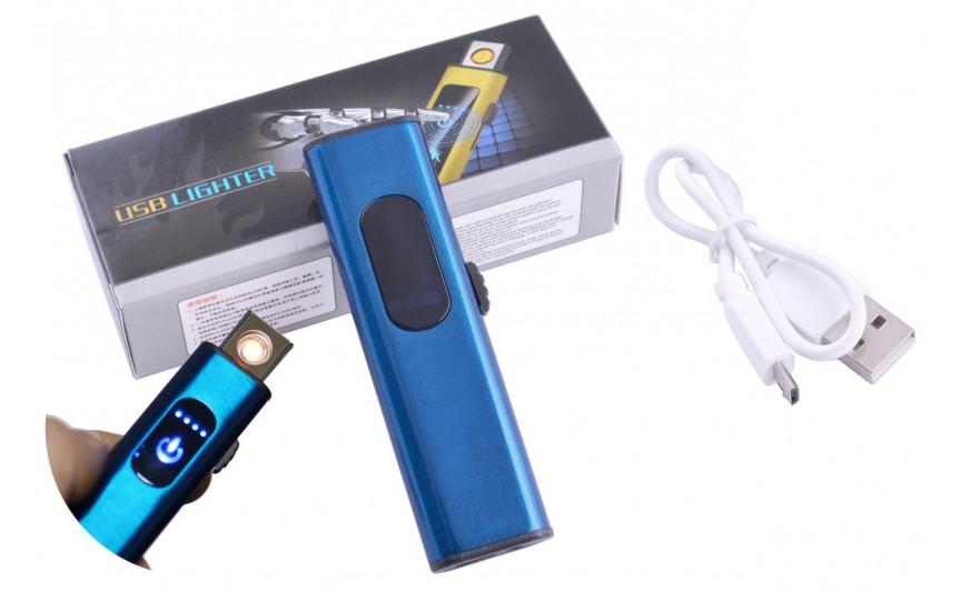 USB  зажигалка в подарочной упаковке Lighter (Спираль накаливания) №HL-59 Blue