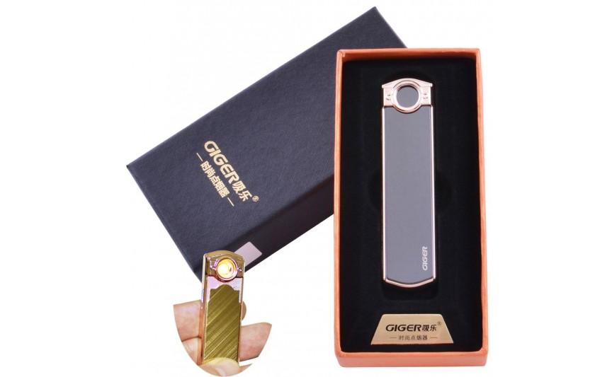 USB  зажигалка в подарочной упаковке Lighter (Спираль накаливания) №HL-60 Black