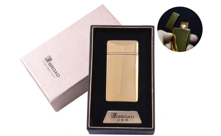 """USB зажигалка в подарочной упаковке """"Broad"""" (Двухсторонняя спираль накаливания) №4851 Gold"""