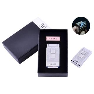 Запальничка в подарунковій коробці Hasat (Гостре полум'я) №4314 Silver