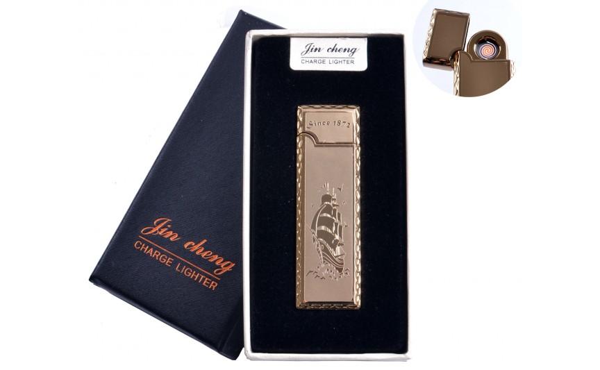"""USB зажигалка в подарочной упаковке """"Парусник"""" (двухсторонняя, спираль накаливания) №4793-3"""