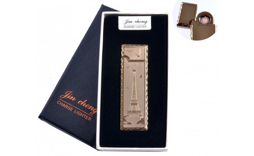 """USB зажигалка в подарочной упаковке """"Эйфелева башня"""" (двухсторонняя, спираль накаливания) №4793-5"""
