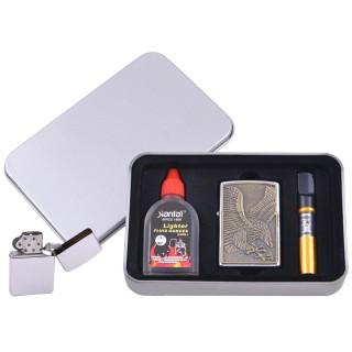 Зажигалка бензиновая в подарочной коробке (Баллончик бензина/Мундштук) Пикирующий Орел №XT-4707-1