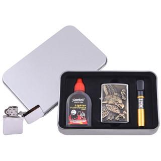 Зажигалка бензиновая в подарочной коробке (Баллончик бензина/Мундштук) Взлетающий Орел №XT-4707-2