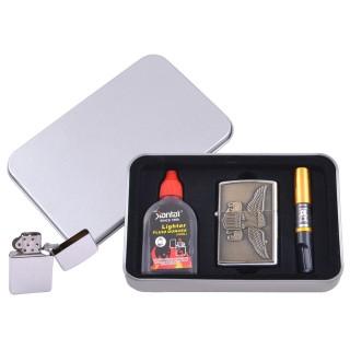 Зажигалка бензиновая в подарочной коробке (Баллончик бензина/Мундштук) Орел №XT-4707-6