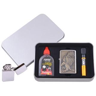 Зажигалка бензиновая в подарочной коробке (Баллончик бензина/Мундштук) Орел №XT-4707-9