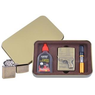 Зажигалка бензиновая в подарочной коробке (Баллончик бензина/Мундштук) Пистолет P99 №XT-4716-1