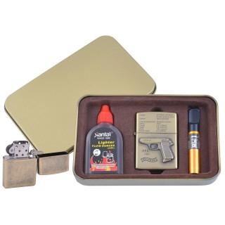 Зажигалка бензиновая в подарочной коробке (Баллончик бензина/Мундштук) Пистолет PPK №XT-4716-2