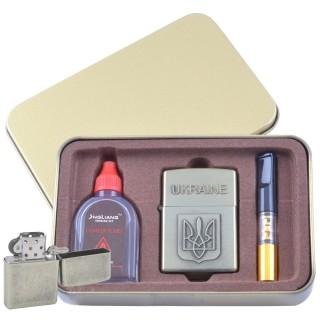 Зажигалка бензиновая в подарочной коробке (Баллончик бензина/Мундштук) Герб Украины №XT-4930-1