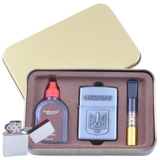 Зажигалка бензиновая в подарочной коробке (Баллончик бензина/Мундштук) Герб Украины №XT-4930-2