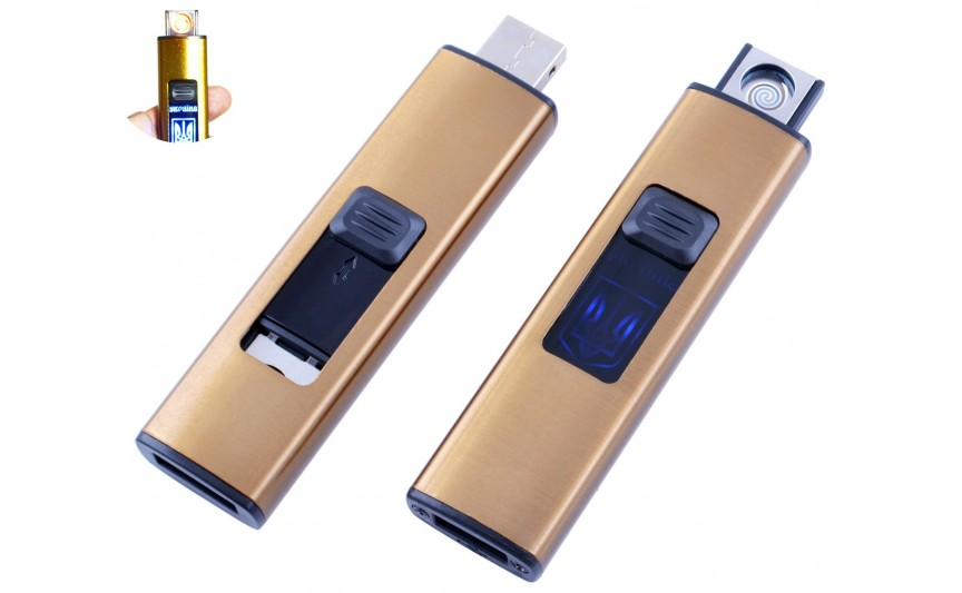 USB зажигалка Украина №HL-144 Gold