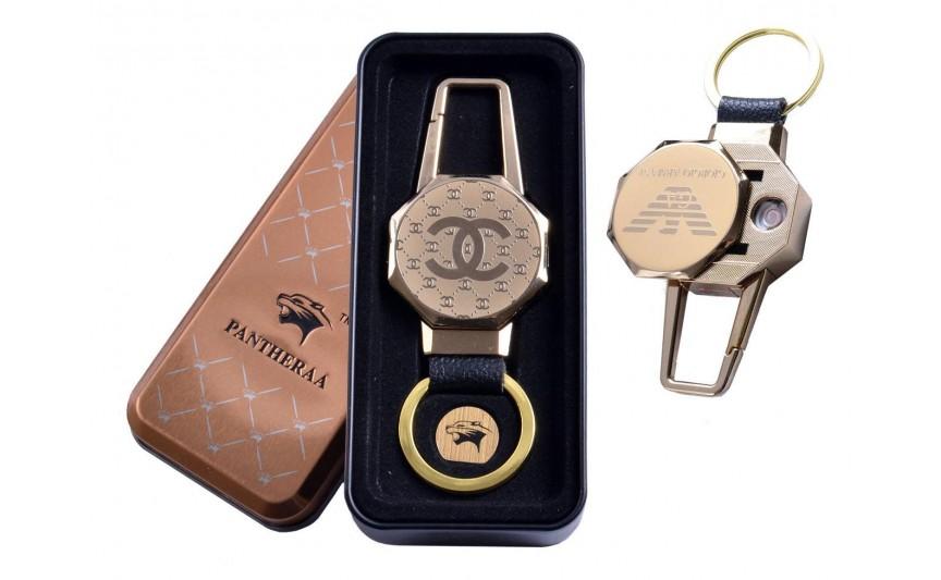 USB зажигалка в подарочной металлической коробке (брелок + фонарик) №4687B-1
