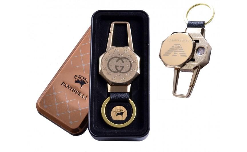 USB зажигалка в подарочной металлической коробке (брелок + фонарик) №4687B-3