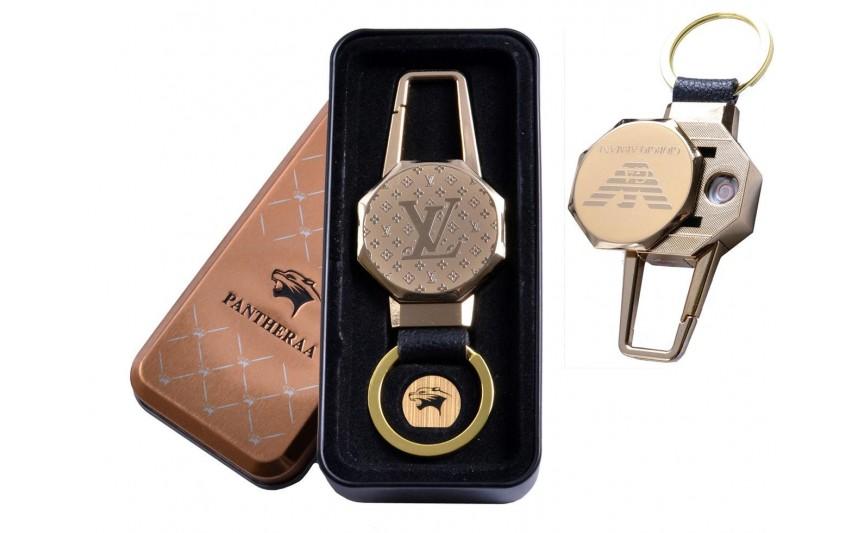 USB зажигалка в подарочной металлической коробке (брелок + фонарик) №4687B-4