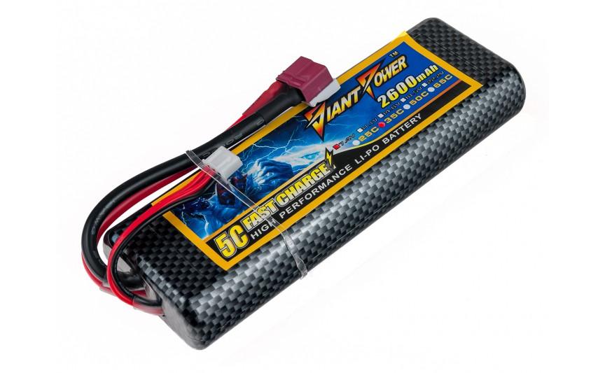 Аккумулятор Giant Power Li-Pol 2600mAh 7.4V 2S 35C Hardcase 25x46x138мм T-Plug