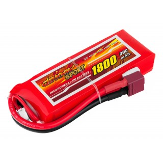 Аккумулятор Dinogy Li-Pol 1800mAh 7.4V 2S 30C 17x35x95мм T-Plug