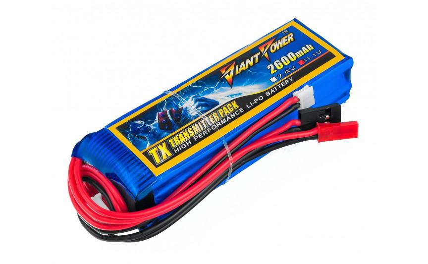 Акумулятор Giant Power Li-Ion 2600mAh 11.1 V 3S 3C 25х31х97мм Futaba+JR для передавачів