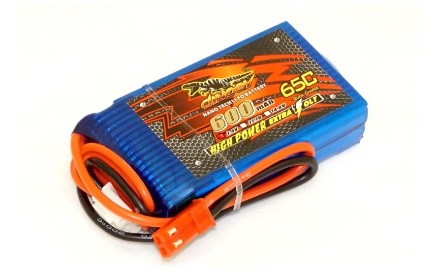 Аккумулятор Dinogy Li-Pol 600mAh 7.4V 2S 65C JST 53x30x13мм